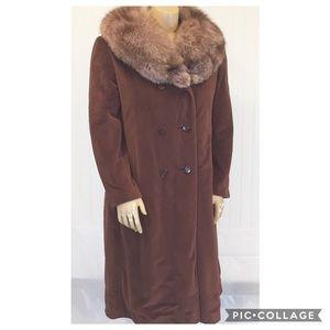 LORENDALE Vintage 50s Brown Wool Coat Fox Fur
